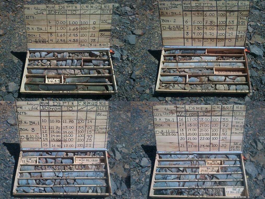 نمونه سنگ های جمع آوری شده در مطالعات زمین شناسی و گمانه زنی قله گرگش